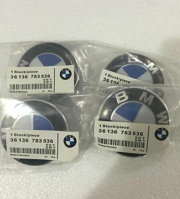 BMW Car Badge Hub Wheel Emblem Logo Rim Center Cap Set of 68mm 4 grey