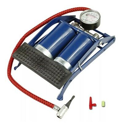 Double Barrel Cylinder Air Inflator Foot Pump Car Van Bicycle Bike Tyre Uk Stock