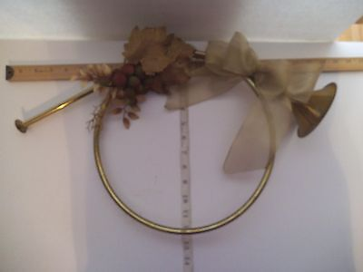 Large Brass French Horn Christmas Wall Decoration Wreath Wall Ornament Door 12""