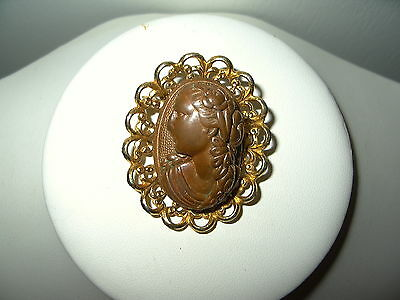 Vintage Victorian Goldtone & Copper Ladies Face Profile Oval Cameo Brooch Pin