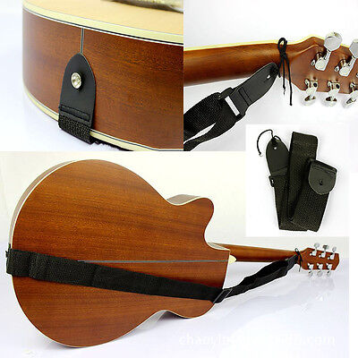 New Acoustic Electric Guitar Bass Nylon Adjustable Strap Belt Guitar Strap Black