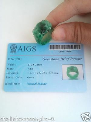 Certified  Green  Natural  100%  A  Jade Jadeite  Ring  Size 57.