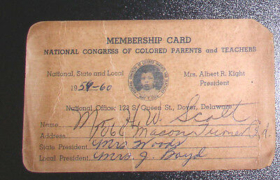 1959 Membership card - National Congress of Colored Parents and Teachers