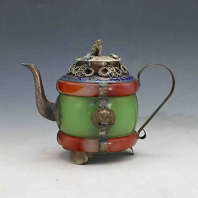 Chinese Silver Copper Inlaid Old Jade  Handwork Dragon Teapot & Monkey Lid