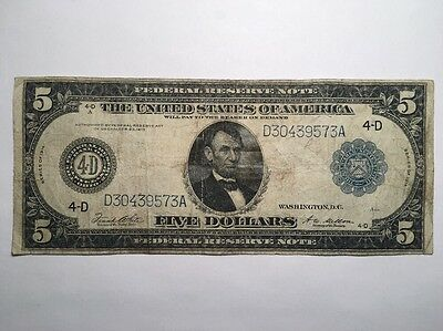 1914 $5 Five Dollar Bill Federal Reserve Note - Large Bill - Cleveland, OH