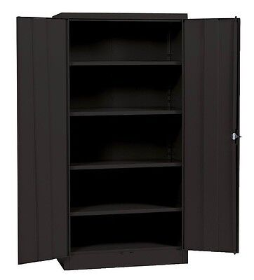 "Metal Storage Cabinet Steel Locking With Doors Lock Garage Shop 72"" Tall Black"