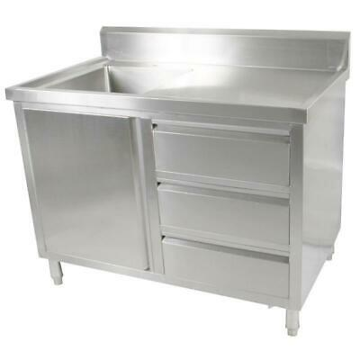 Kitchen Cabinet with Sink, Single Left Bowl, Stainless Steel, 1200x700x900mm