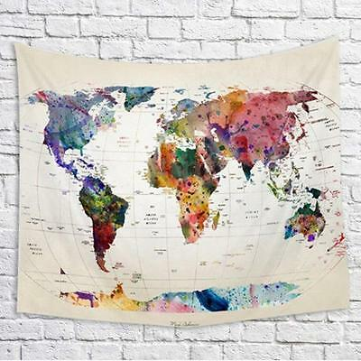 World Map Indian Tapestry Wall Hanging Hippie Mandala Bedspread Dorm Decor Throw