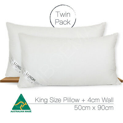 2 x Aus Made KING SIZE Microfibre Pillow 90x50cm Altern to Feather/Duck Down