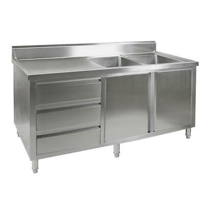 Kitchen Cabinet with Sink, Double Right Bowl, Stainless Steel, 2100x700x900mm
