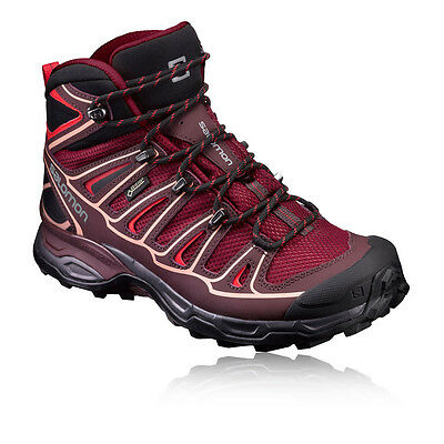 Salomon X Ultra Mid 2 Womens Red Purple Waterproof Gore Tex Walking Boots Shoes