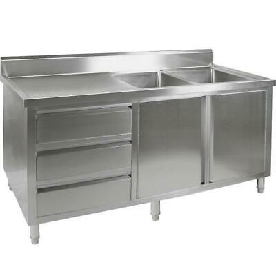 Kitchen Cabinet with Sink, Double Right Bowl, Stainless Steel, 2400x700x900mm