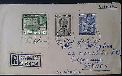 SCARCE 1949 Somaliland Protectorate Registd Cover ties 3 stamps canc Hargeisa
