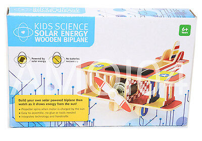 Kids Science Solar Energy Build-Your-Own Wooden Plane Age 6+ *New