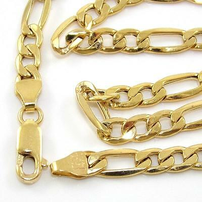 """Milor Solid 14K Yellow Gold Figaro Chain Link Necklace 22.5"""" 5mm QR"""
