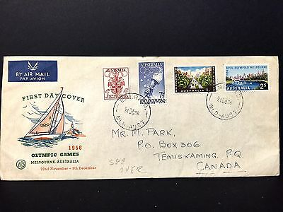 Australia 1958 Olympic FDC  to Canada with Olympic Philatelic Exh., Label ......