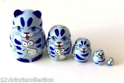 mini BLUE CAT Russian Hand Carved Hand Painted miniature Nesting DOLL animal set