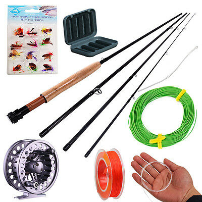 Fly Fishing Rod with Reel Lines Flies Fishing Tackle Combo Set Fly Fishing Kits