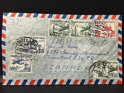 Chile 1960 Airmail Cover to Canada .