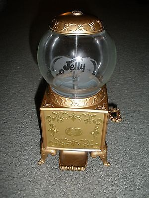 """2007 Jelly Belly Gold Metal Gumball Machine Jelly Bean Dispenser 9"""" GLASS """"LOOK"""""""