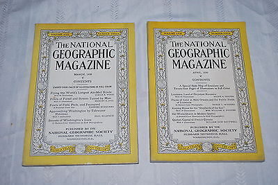 Lot of 2 - The National Geographic Magazine - March & April 1930 - NICE!!