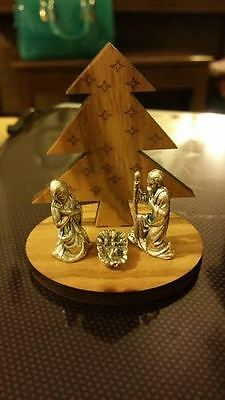 Small nativity scene Olive wood & silver colour Made in Italy Christmas