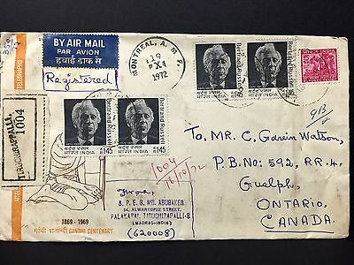India Airmail R-Cover 1972 tied by Tirudhirappalli Cxl. to Canada.