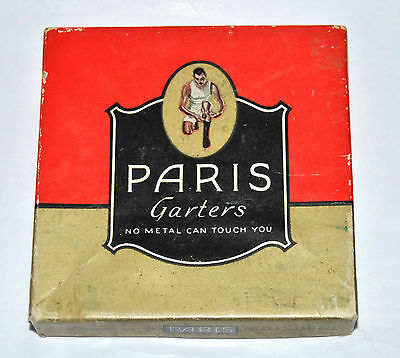 "Paris Garters for men Vintage BOX ONLY ""No Metal Can Touch You"" Maroon #1515"