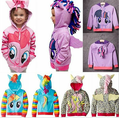 Cute Girls My Little HORSE Hoodie Wings Kids Zip Jacket Sweater Coat Tops Gifts