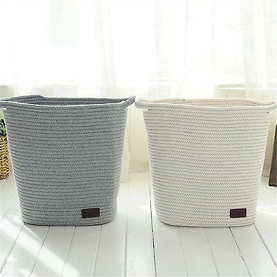 Cotton Rope Woven Storage Baskets with Handles Clothes Hamper Toys Nursery Bins