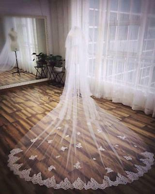 Long 3M White/ivory 2T Lace Edge Cathedral Length Bridal Wedding Veil With Comb