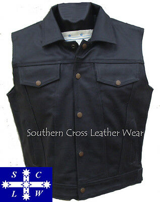 Men's Leather Jeans Style Motorcycle Vest Size S-6XL