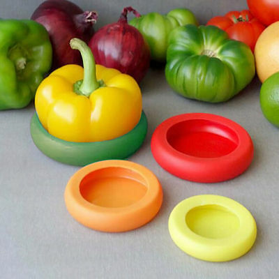 4 PCS/set Flexible Silicone Vegetable Fruit Food Huggers Storage Cover Storage
