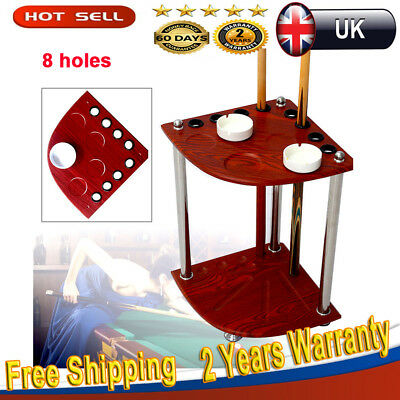 Wooden Pool Snooker Billiard Corner Holes Cue Rack Standing Rest Table+Ashtray