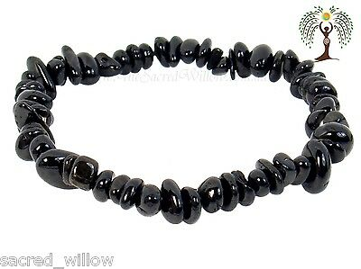 Black Tourmaline Gemstone Chip Stretch Bracelet Crystal Stone + Bag & Info Card