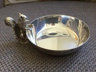 Viners Small Silver Plated Nut Bowl With Single Squirrel