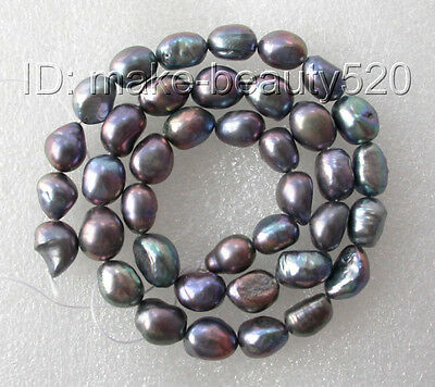 wholesale 5pcs 11mm black baroque freshwater pearl necklace loose beads s136