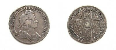 George I 1725 Silver Shilling - Roses & Plumes - Scarce