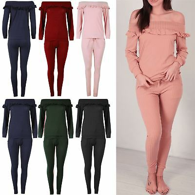Ladies Frill Top Jog Suit Womens Tracksuit Oversize Off the Shoulder Lounge Wear