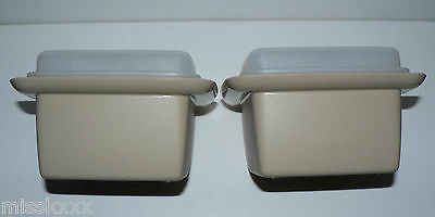 2 X Vintage Tupperware Containers Beige Almond Square With Lids