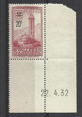 French Andorra - 1935 stamp - Surch 20c on 50c purple - MNH - Cat value £29