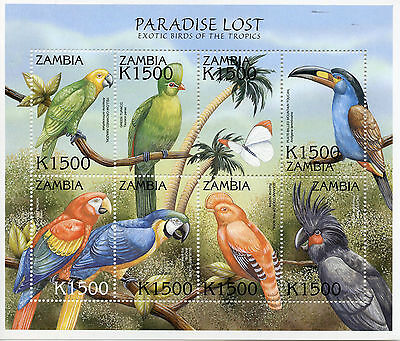 Zambia 2000 MNH Exotic Birds Paradise Lost 8v MS IV Parrots Toucan Macaws Stamps