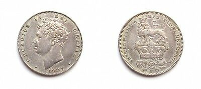 George Iv 1827 Silver Sixpence - Extremely Rare