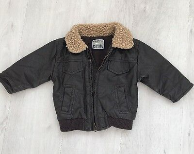 Baby Boy Aviator Pilot Coat Jacket Brown Fur 3-6 Months M & S Faux Leather