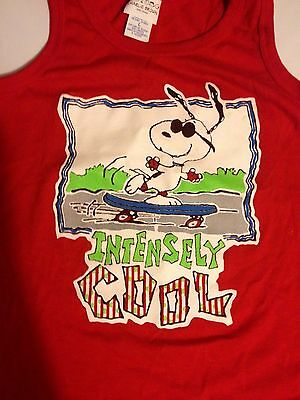VINTAGE Snoopy Skateboarding Intensely Cool Red Kids Large Tank Top Charlie