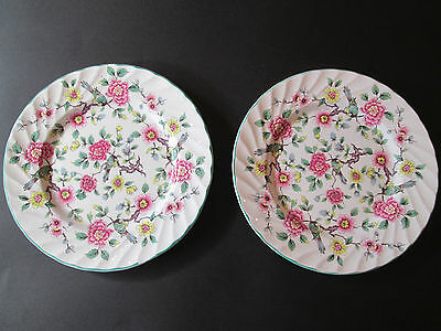 James Kent Old Foley  Two Tea Plates  In Chinese Rose  British Earthenware