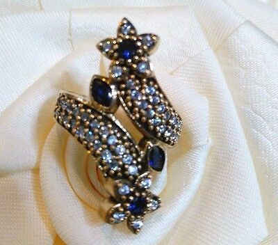 Lady's Turkish Made Jewelry / 925 Sterling Silver Blue Sapphire Ring Size 9