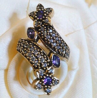 Lady's Turkish Made Jewelry / 925 Sterling Silver Purple Amethyst Ring Size 9