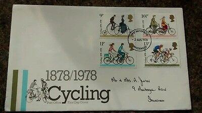 GREAT BRITAIN, Centenary of Cycling,1st Day Cover,with insert 02/08/1978