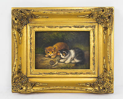 Oil Painting of kittens Playing with a Snail Giltwood Frame